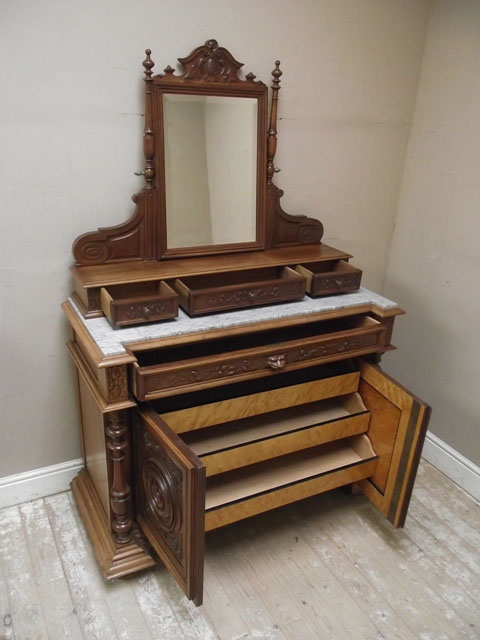 A2272 Antique Solid Walnut Coffeuse Dressing Table