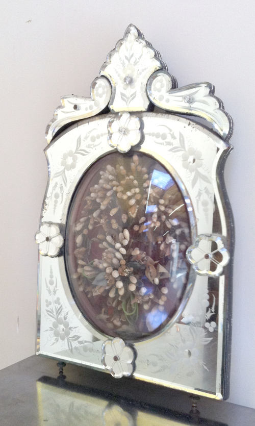 a3223 beautiful antique etched venetian mirror