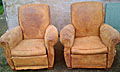 pair of old French shabby chic club chairs