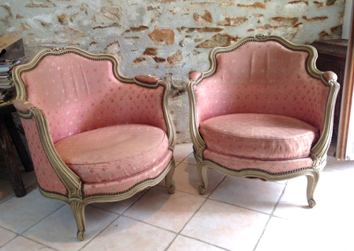 Pair of vintage French Tub Chairs - A4057 Pair Of French LXV Style Vintage Tub Chairs