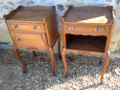 pair of Louis XV solid walnut bedside tables