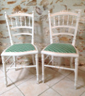 pair of french antique louis XVI painted chairs