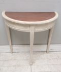 old painted console half moon table