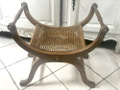 old french curved cane bench