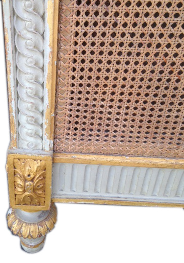 Ib4016 Stunning French Antique Upholstered Cane Bed
