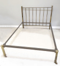 OLD BRASS DOUBLE BED WITH LOW FOOT END