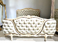 old french deep buttoned demi-corbeille bed