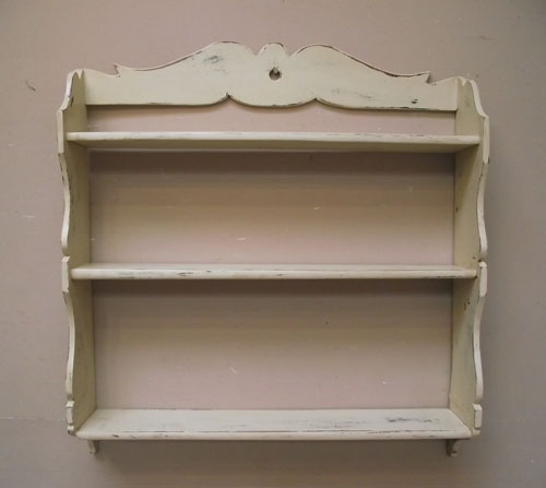 DECORATIVE OLD FRENCH PAINTED WOODEN SHELF