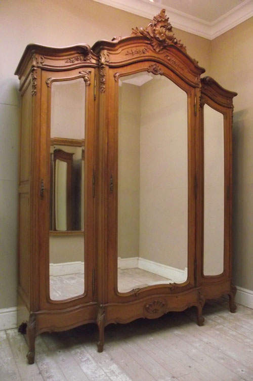 Antique Rococo Style Triple Door Armoire