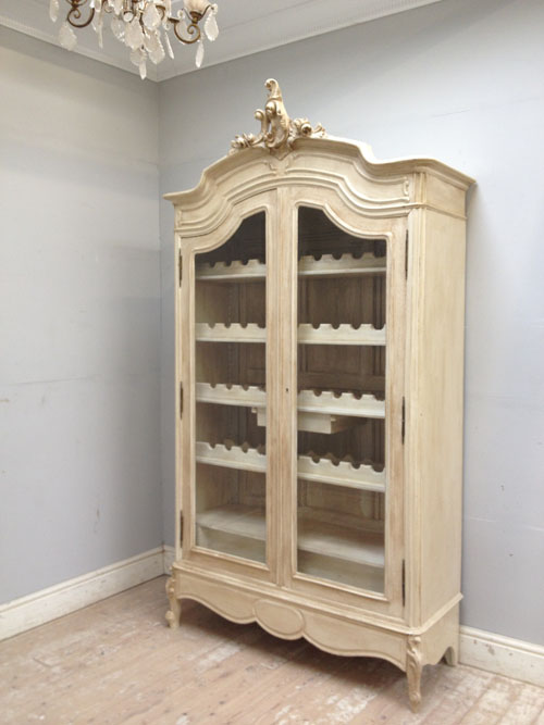 If3296 Stunning Antique French Crested Glazed Armoire Wine Storage