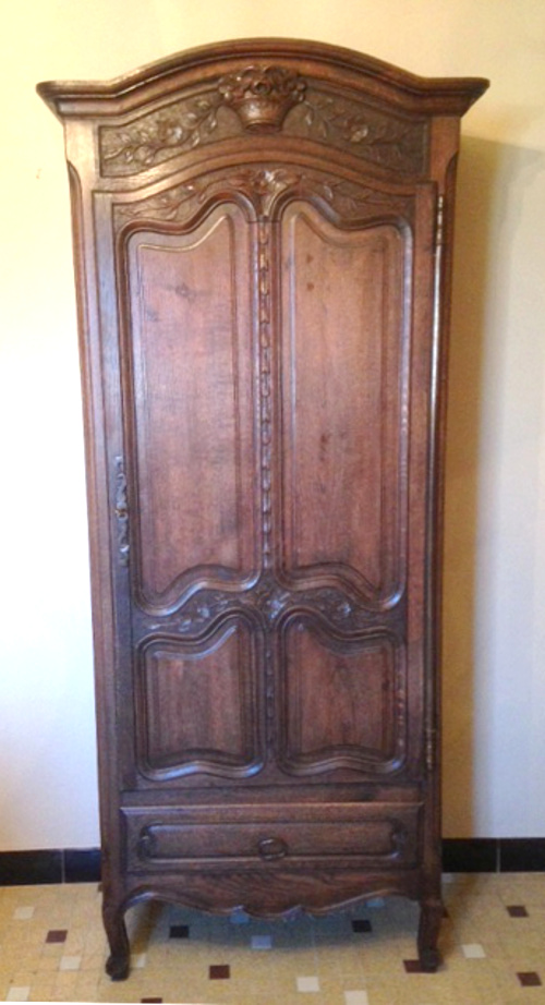 FRENCH ANTIQUE NORMANDY STYLE PETITE ARMOIRE