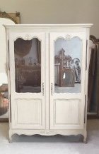 old french lxv petite double door glazed armoire