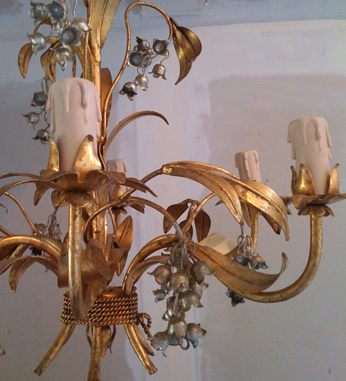 L2110 french metal 5 branch chandelier - Chandelier a 5 branches ...
