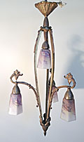old french brass light with pate de verre glass shades