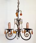 old french amber glass light