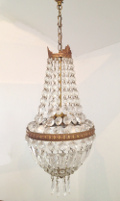 french antique brass and crystal chandelier