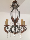 old french iron and crystal chandelier