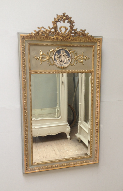 Impw2949 Pretty French Antique Trumeau Mirror