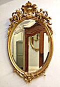 large french antique crested oval mirror