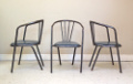 SET OF 3 POLISHED METAL VINTAGE CHAIRS